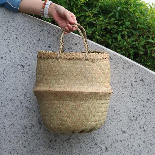 Pp3032 - túi phúng phính truyền thống màu tự nhiên an nhiên shop - giỏ cỏ bàng đan thủ công size 30x32