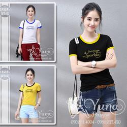 Áo Cotton Thun Thái Phối Viền Thêu Sparkle Cao Cấp - Yuna Boutique [Mua 2 Áo Tặng 1 Khẩu Trang Su Dày Kháng Khuẩn]