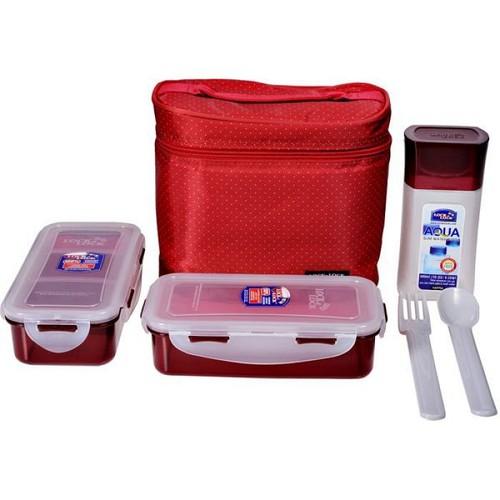 Bộ hộp cơm trưa tiện lợi với túi xách sang trọng lock&lock - hpl758dr