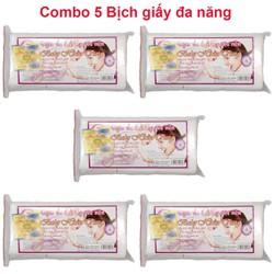 Combo 5 bịch Giấy đa năng, khăn vải khô đa năng, giấy khô đa năng, khăn giấy khô đa năng dùng cho trẻ sơ sinh