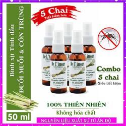 Combo 5 Bình xịt tinh dầu sả chanh thơm phòng đuổi muỗi Delamour 50ml. - xitduoimuoi50ml - bình sịt muỗi - chai xit muoi