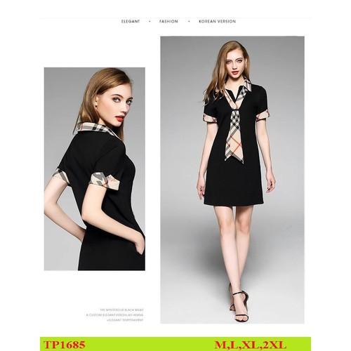 Đầm nữ dự tiệc công sở dạo phố dạ hội- đầm đen cổ sơ mi viền tay kèm khăn sành điệu