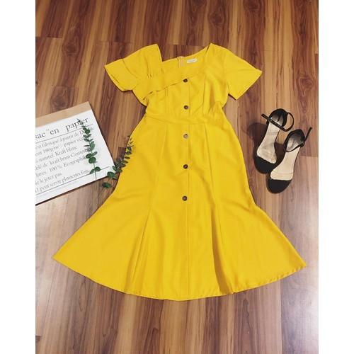 Đầm vàng tay kiểu