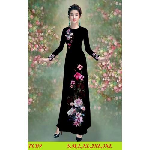 Bộ áo dài truyền thống lụa tằm ý may sẵn đủ size áo +quần