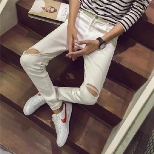 Quần jean nam skinny trắng rách gối