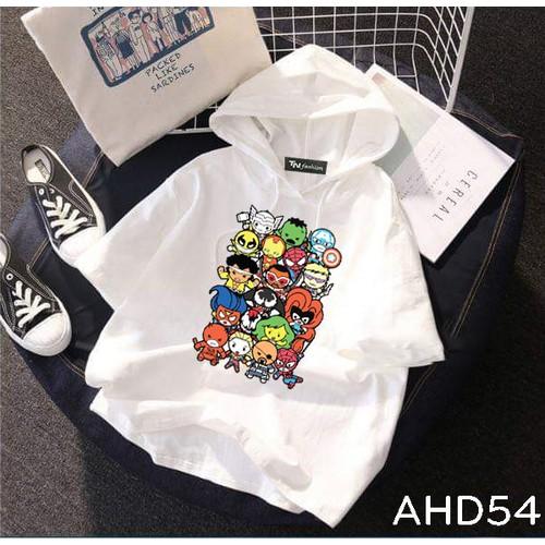Ahd54 áo thun hoodie tay lỡ có nón hình anh hùng marvel