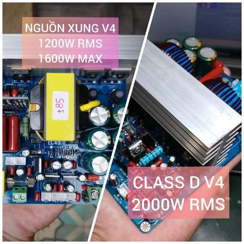 Bộ 2 mạch - nguồn xung 1200w v4 và class d 2000w v4