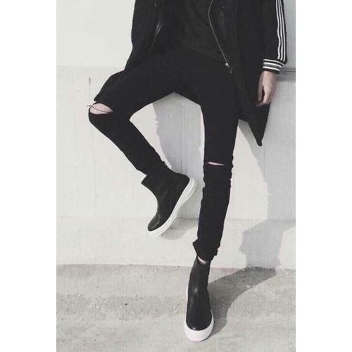 Quần jean nam skinny đen rách gối