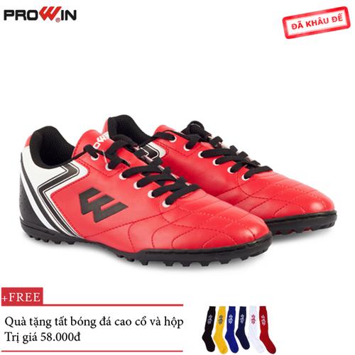 Giày đá bóng prowin fx  đỏ - tặng kèm tất bóng đá cao cổ - fx.đỏ