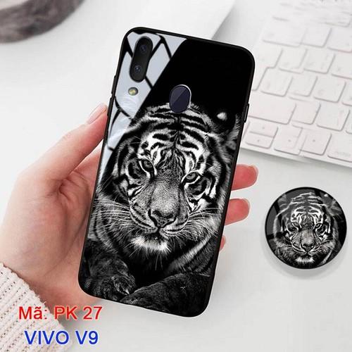 Ốp lưng vivo v9 mặt kính in hình 3d mặt hổ