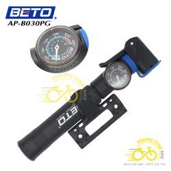 Bơm mini xe đạp BETO AP-B030PG có đồng hồ áp suất