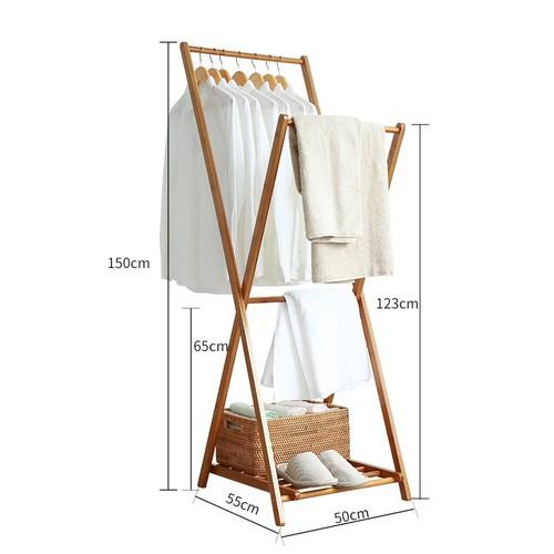 Khung treo quần áo bằng tre xếp gọn 90cm