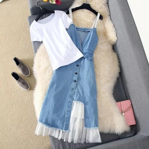 Set váy yếm nữ