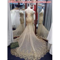 Áo cưới đuôi cá ren kim tuyến, váy giả cúp ngực AC484