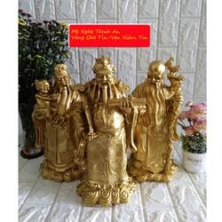 Bộ tượng đá Phúc Lộc Thọ màu đồng sáng cỡ đại