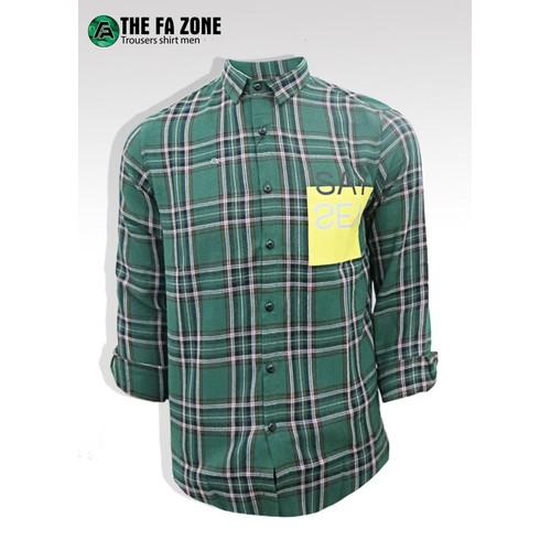 Áo sơ mi nam  tay dài , áo sơ ca rô  the fa zone smcr001