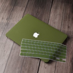 Combo Ốp Và Phủ Phím Macbook  Màu Xanh Rêu Tặng nút chống bụi