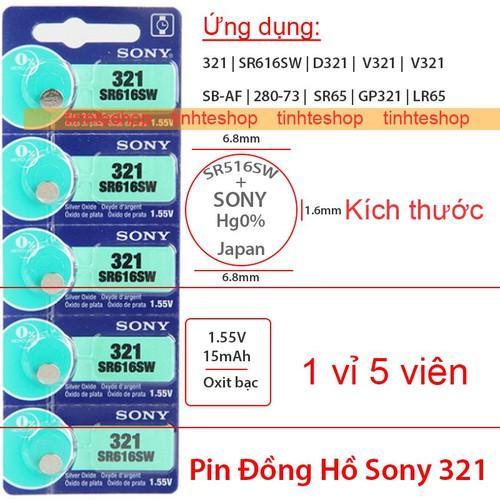 Pin đồng hồ 321 v321 d321 sr1616 sr1616sw sr65 gp321 lr65 sb-af 280-73 sony 1.55v-15mah 1 vỉ 5 viên
