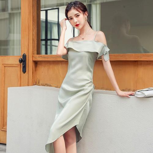 Đầm nữ lụa 2 dây trễ vai thời trang dễ thương