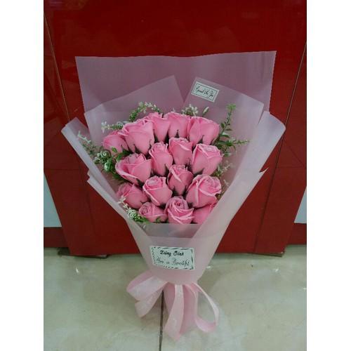 Bó hoa hồng sáp thơm 15 bông màu hồng phấn