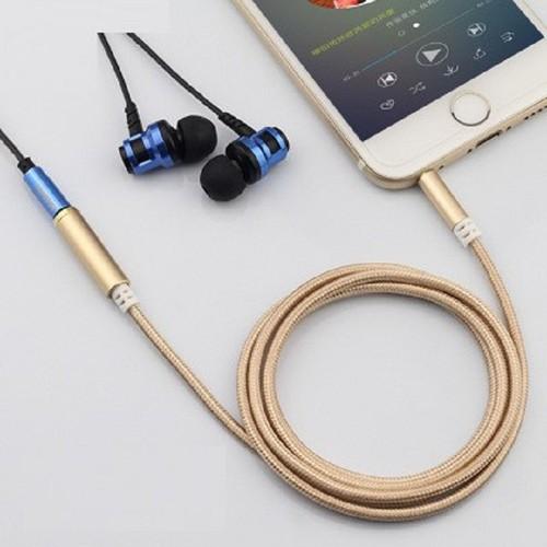 Cáp audio nối dài 3.5mm màu vàng gold_dài 1 mét