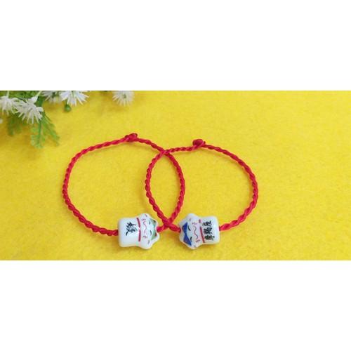 2 vòng mèo gốm may mắn, vòng chỉ đỏ đôi, vòng mèo rẻ đẹp, vòng couple cực xinh