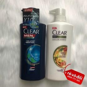 Combo 2 Chai Dầu Gội Clear Men và Clear Thảo Dược 450ml - Thái Lan - Combo 2 Clear Men-Thảo Dược