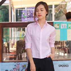 Áo sơ mi nữ công sở tay dài màu hồng nhạt