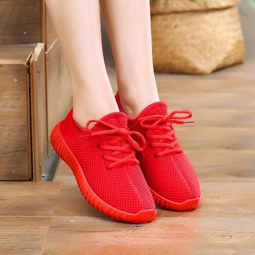 Giày thể thao chun đỏ đen hàng quảng châu