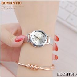 Đồng hồ nữ - thời trang dây kim loại nam châm kiểu dáng hàn quốc, Tặng 3 món quà: 1 hộp đựng sang trọng, 1 pin dự phòng, 1 vòng may mắn