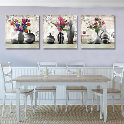 Bộ 3 bức bình hoa in trên chất vải canvas cao cấp kèm khung