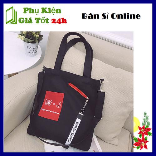 Túi đeo chéo nữ đen w-j thời trang cá tính - túi vải bố 36x30x2