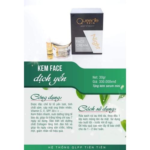 Kem face dịch yến queenie skin - đêm tặng serum mink - 12686289 , 20556552 , 15_20556552 , 330000 , Kem-face-dich-yen-queenie-skin-dem-tang-serum-mink-15_20556552 , sendo.vn , Kem face dịch yến queenie skin - đêm tặng serum mink