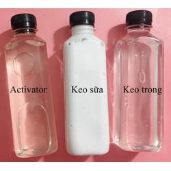 Combo Keo trong + Keo sữa + Dung dịch làm đông slime activator - Nguyên liệu làm slime