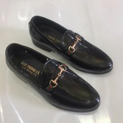 Giày tây nam da bóng đai kim loại vàng lịch lãm đế 3 cm hàng cao cấp giá rẻ Vina Store