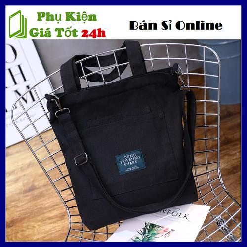 Túi đeo chéo living đen thời trang cá tính - túi vải bố phong cách hàn 36x30x2