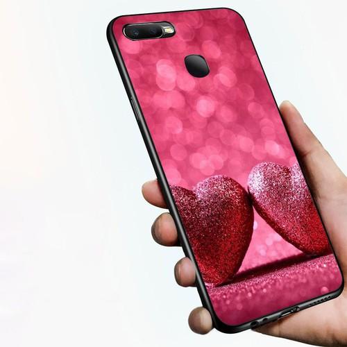 Ốp điện thoại kính cường lực cho máy oppo a7 2018 - trái tim tình yêu ms love050