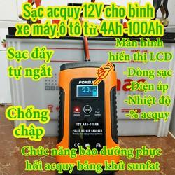 Sạc bình acquy 12V 3Ah-100Ah FOXSUR tự ngắt khi đầy, khử sunfat chống ngược cực