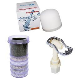 Bộ 3 thiết bị lọc nước gồm: nấm sứ, lõi than 6 tầng, vòi nước.