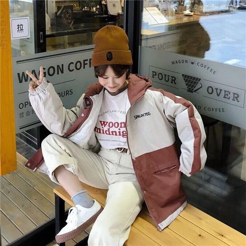 Áo khoác kaki túi hộp nữ