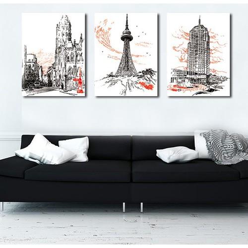 Bộ 3 bức tranh paris đen trắng in trên nền vải canvas cao cấp kèm khung