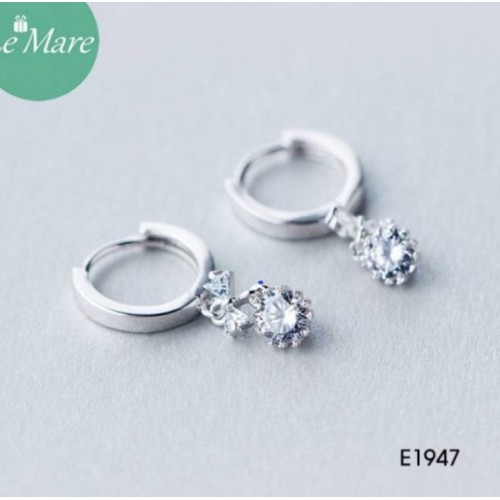 Khuyên vòng thả nơ kim cương e1947 lemare jewelry