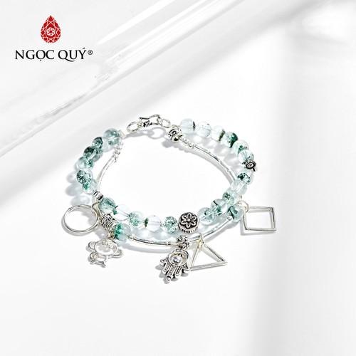 Vòng tay 2 line đá thạch anh ưu linh xanh phối phụ kiện bàn tay bạc 6mm - ngọc quý gemstones