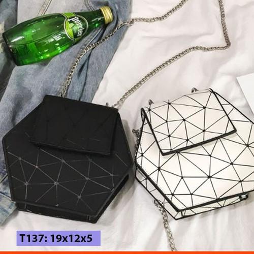 Túi xách đeo chéo nữ hình lục giác độc lạ