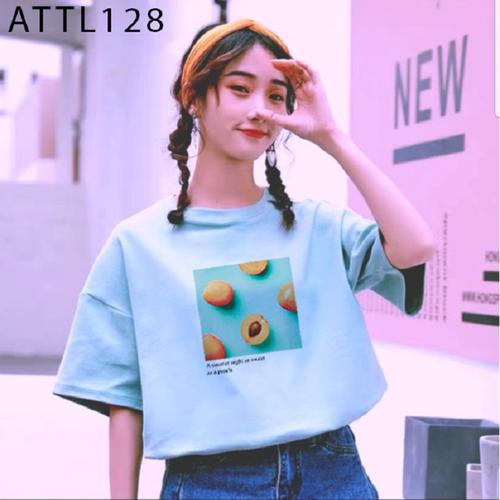 Áo thun tay lỡ nữ in hình trái đào ngộ nghĩnh có nhiều màu đủ size - attl128