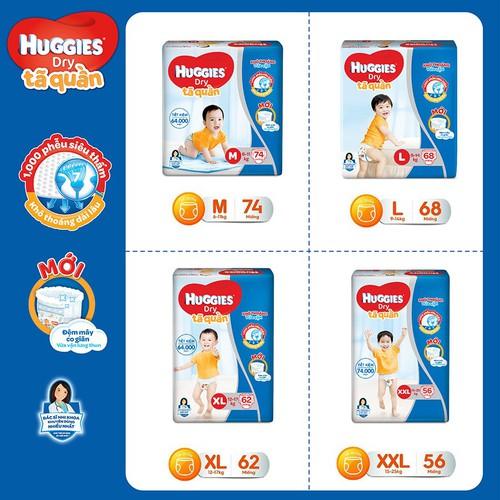 Tã quần huggies đủ size cho bé m74 - l 68 - xl62 - xxl56