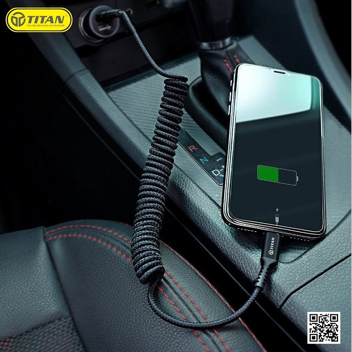 Cáp sạc lò xo Titan CL15 cho iPhone-Samsung – Hàng chính hãng
