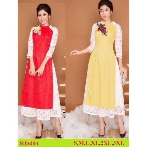 Bộ áo dài cách tân đủ size áo dài+ váy ren