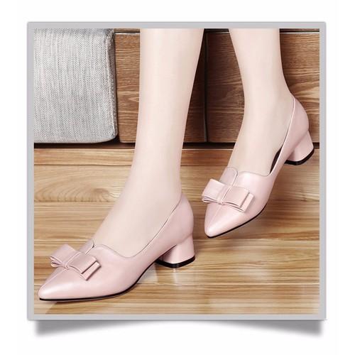 Giày gót vuông nơ cao cấp - ms: g98gx
