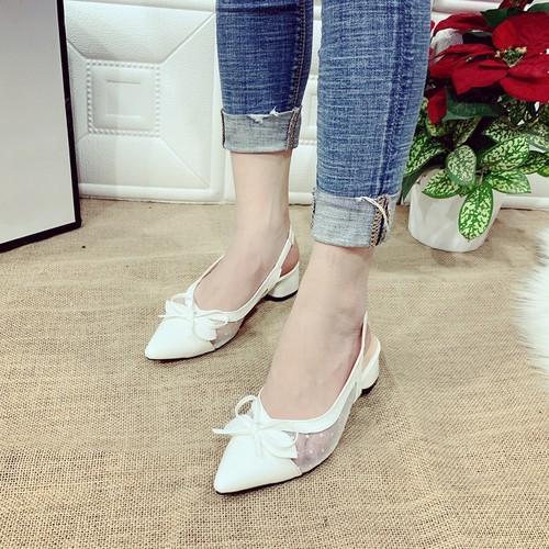 Giày gót vuông nơ thắt